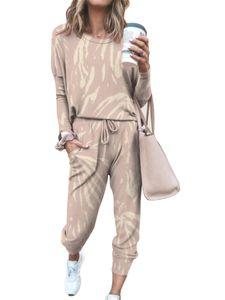 Damen Sportswear Freizeitanzug T-Shirt Pullover Sportanzug,Farbe: Beige,Größe:M