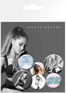 Ariana Grande Button Pack - Head In The Clouds, 4 X 25mm & 2 X 32mm Buttons (15 x 10 cm)