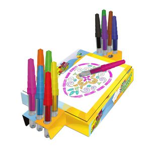 Starlyf® Blow Markers - Pustesstifte, Airbrush Stifte, Filzstifte, 13 versch. Farben inkl. 16 wiederverwendbare Schablonen, 40 weiße Blätter und eine Malstation,  Aus der TV Werbung