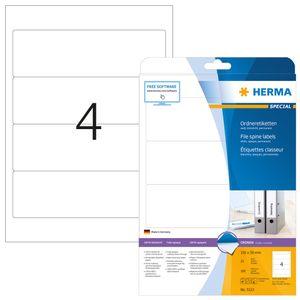 Ordneretiketten A4 weiß 192x59 mm Papier matt blickdicht 100 St.