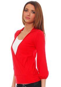 Amri Japan Style von Mississhop Damen Wickelbluse Bluse 3/4 arm Tunika Longshirt mit Stehkragen Shirt Rot S