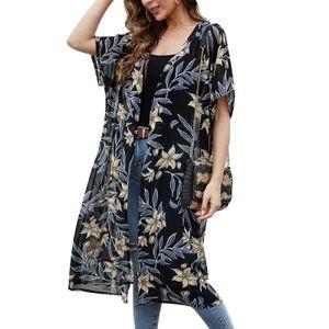 Frauen Sommer Lose Kimono Strickjacke Floral Printed Open Front Kurzarm Strandurlaub Bikini Vertuschungen