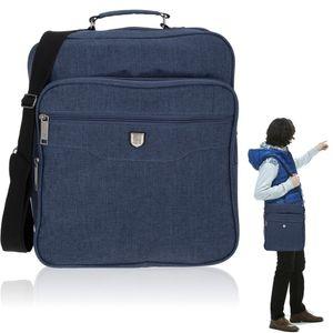 Schultertasche Tasche Herren A4 Flugumhänger Reisetasche Arbeitstasche Elephant Milano hoch 1727 Blau + Etui
