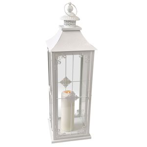 Wohaga® Laterne 'Grace' Landhaus Style H70cm - Weiß