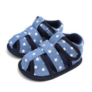 Fünfzackige Sternbabysandalen für Kinder mit weicher Sohle für Kleinkinder Größe:21,Farbe:Blau