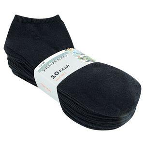 10 Paar Sneaker Socken schwarz für Damen  80% Baumwolle Gr. 39/42