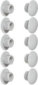 10x Abdeckkappen Kunststoff 8mm lichtgrau RAL 7035 grau Blindbohrung Stopfen Blindstopfen Abdeckung Möbel
