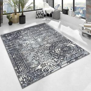 Kurzflor Teppich TOSKANA Mandala Kreise Bordüre römisch meliert, Farbe:Grau, Größe:160x230 cm