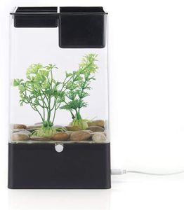 LED Aquarium mini Goldfisch Schüssel Desktop Micro Landscape Aquarium mit Filtersystem (Schwarz)