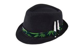 Trilby Hut Schwarz Cannabis Hutband mit Joint-Haltern Hanf Mary Jane