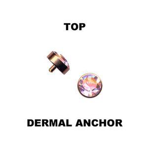 Dermal Anchor Aufsatz Hautanker Piercing roségold mit Aurora Borealis Kristall, Größe:4 mm