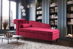 Polsterliege Ottomane Stoff Recamiere versch. Farben Kasper-Wohndesign rot SARAH