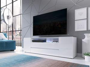 Mirjan24 TV-Lowboard Sound, Stehend TV-Schrank mit LED-Beleuchtung, Stilvoll TV-Möbel, RTV (Farbe: Weiß / Weiß Hochglanz)
