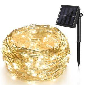 10m Solar Draht Lichterkette mit 100 LED Außenbeleuchtung - warmweiß