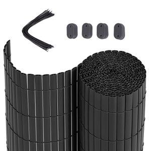 SONGMICS PVC Sichtschutzmatte 80 x 400 cm Sichtschutz stabil für Garten Balkon und Terrasse Grau GPF3084G