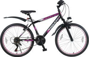 26 Zoll Kinder Mädchen Fahrrad Mädchenfahrrad Mountainbike Kinderfahrrad MTB Rad Bike Gabelfederung Federgabel 21 Gang Shimano Beleuchtung Escape Pink TYT19-026