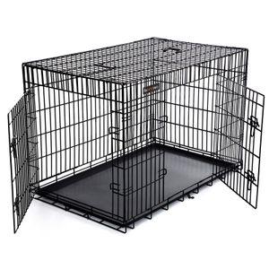 FEANDREA Hundekäfig | XXXL 122 x 81 x 76 cm | Hundebox faltbar 2 Türen | Drahtkäfig | Gitterbox | Transportbox schwarz PPD48H