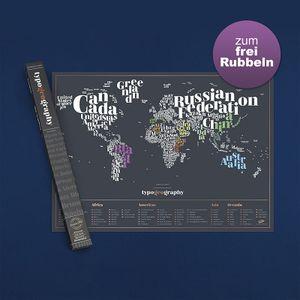 Typogeographie-Welt-Scratch-Karte - personalisierte Weltreisen-Karte - Scratch Off Map - schöne Scratch Poster - erstaunliche Karte Nachbildung - perfekte Geschenk für Reisende - schwarz