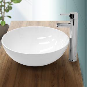 ECD Germany Waschbecken Waschtisch Ø 400 x 147 mm aus Keramik Rund Weiß ohne Überlauf - Aufsatzbecken Aufsatzwaschbecken Handwaschbecken Aufsatzwaschtisch Spülbecken Becken Wasserfall Waschschale Waschschlüssel
