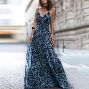 Frauen Leopardenmuster Langes Kleid Mit V-Ausschnitt Spaghetti Schultergurte aermellos Casual Maxi-Kleid (S)
