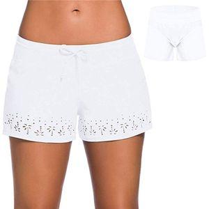 Damen Badeanzug Tankini Bottom Swim Boardshorts Boyshort Bikini Elastische Taille,Farbe: Weiß,Größe:M