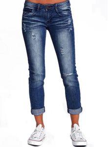 y Dance Frauen Lässige Jeans Stretchjeans Classic Denim Bleistifthose Stretchhose ,Farbe:Dunkelblau,Größe:XL