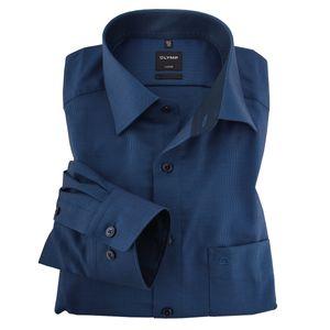 XXL Olymp bügelfrei Businesshemd Struktur royalblau, Kragenweite:44