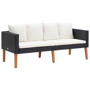vidaXL 2-Sitzer-Gartensofa mit Auflagen Poly Rattan Schwarz