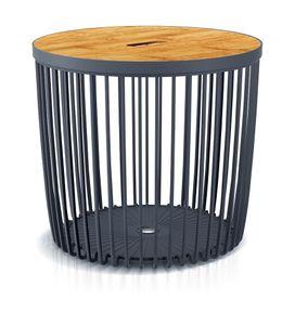 Couchtisch Beistelltisch Tisch Holzplatte Korbtisch Sofatisch Balkonmöbel Kunststoff 50L 45 x 41 cm