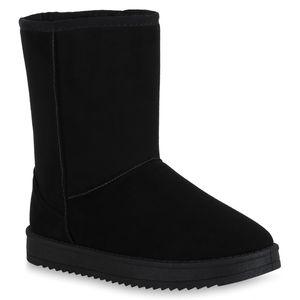 Mytrendshoe Damen Schlupfstiefel Warm Gefütterte Stiefel Winter Plateau Boots 825396, Farbe: Schwarz, Größe: 36