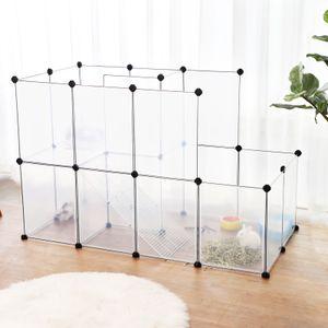 SONGMICS Kleintierkäfig mit Rampe und Treppe | Meerschweinchen-Käfig mit großer Auslauf | Kleintiergehege aus Kunststoff transparent LPC03W