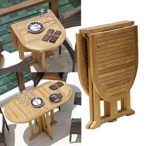 Klapptisch Destiny Tisch BALCONY Teakholztisch Balkontisch ca. 120x60 oval