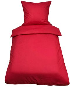 2 tlg Uni Bettwäsche 135x200 Rot Einfarbig Renforce Garnitur Set 100% Baumwolle