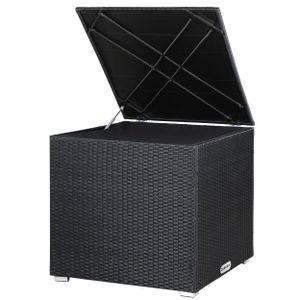 Casaria Poly Rattan Auflagenbox Kissenbox Gartenbox Lounge 75x75x70 cm Wasserdicht Innentasche Gasdruckfeder Wetterfest, Farbe:schwarz