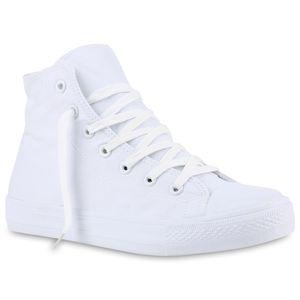 Mytrendshoe Herren Sneakers High Top Sportschuhe Freizeit Schnürer Stoffschuhe 816754, Farbe: Weiß, Größe: 44