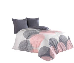 3 tlg Baumwolle Renforce Bettwäsche 200x220 + 80x80 cm anthrazit rosa Kreise Wendefunktion Leron