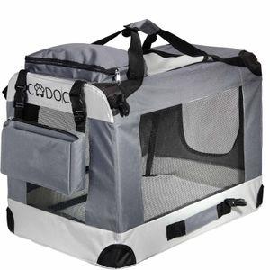 CADOCA Hundetransportbox faltbar Katzentransportbox Transportbox Autobox Box grau, Größe:XXL - 92x64x64cm