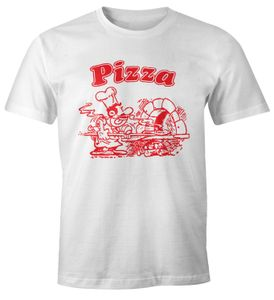 Pizza Shirt Schachtel Motiv Italiano Italien Fun-Shirt Moonworks® weiß L