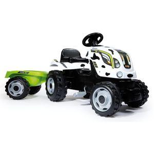 Smoby Kindertraktor mit Anhänger Farmer XL Weiß und Schwarz