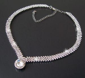 Collier Halskette Kette Hochzeit 40-51cm Silber Zirkonia Schmuck K681
