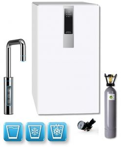 Einbau-Tafelwasseranlage BLACK & WHITE DIAMOND (Option CO2 Eigentumsflasche: 6kg CO2 Flasche / Armatur: U-Auslauf / Farbe: weiß)