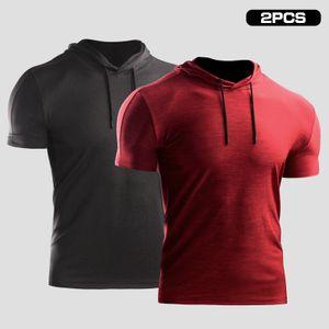 2PCS Herren Sommersport T-Shirt Einfarbige Kapuze Kurzarm Kordelzug Schnelltrocknende atmungsaktive Laufsport Sportbekleidung