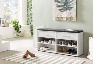 Wilmes Schuhregal mit 4 Fächern, 2 Schubladen und Sitzkissen, Melamin Weiß Nachbildung