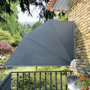 Faltbarer Balkonfächer Seitenmarkise Sichtschutz Sonnenschutz   Balkonmarkise Seitenrollo Markise Grau 160×240 cm   6913