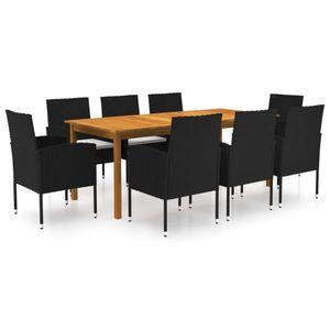 [Neu Möbel] 9-tlg. Garten-Essgruppe|Sitzgruppe Bistro-Set Stilvoll: 1 Tisch & 8 Stühle|Terrasemöbel Gartenset für 8 Personen Schwarz DE8580