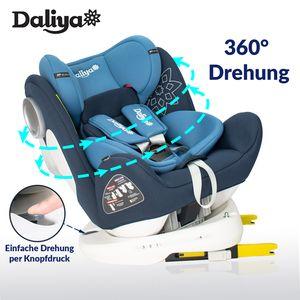 Daliya Sedion Kinderautositz 0-36KG 360° Blau, mitwachsender Autositz, Kindersitz GR. 0+1+2+3, Isofix Fix, Top Tether, 5 Punkt Sicherheitsgurt, incl. Sonnenverdeck, 2x Isofix Einbauhilfe……