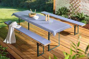 3er Set Auflagen + Tischdecke für Bierbank 70 cm, Dessin:Dessin 1