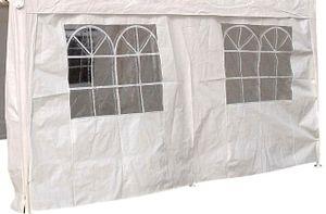 DEGAMO Seitenplane Seitenteil Plane für Partyzelt, Länge 4 Meter, PVC weiß mit Fenstern
