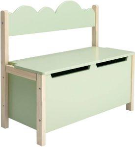 WOLTU 2 in 1 Kindersitzbank mit Klappdeckel, Spielzeugkiste Aufbewahrungsbank mit Rückenlehne, aus Kiefernholz E1 MDF Grün