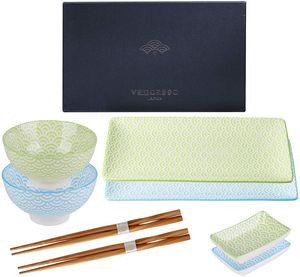 Vancasso Sushi Set, Natsuki 8-teilig Bunte Sushi Teller Porzellan japanische ESS Service Geschirrset für 2 Personen